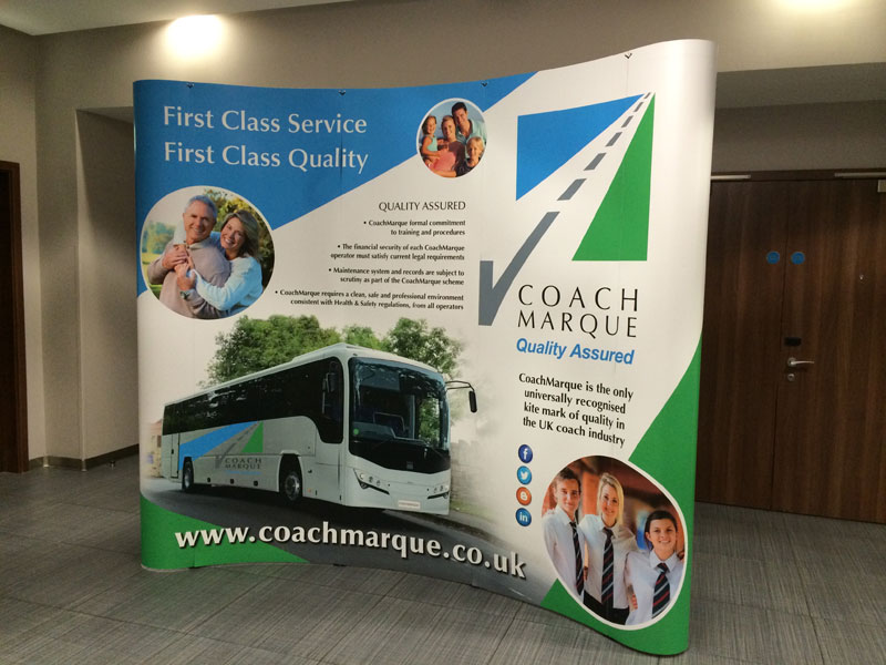 A curved display stand ideal for exhibitions, folds up easily to be transported in your car, created in Retford