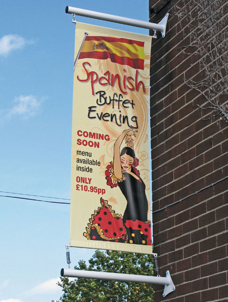 wall mounted banner pole, a great way to get your premises noticed from another angle