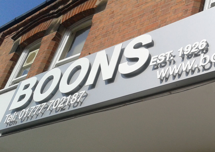 stand off lettering on a sign, cut out letters, built up lettering on a sign is just one of the many things we can do at Burgess Design and Print, Retford